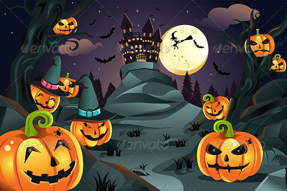 GraphicRiver Halloween Pumpkins Background 5834200