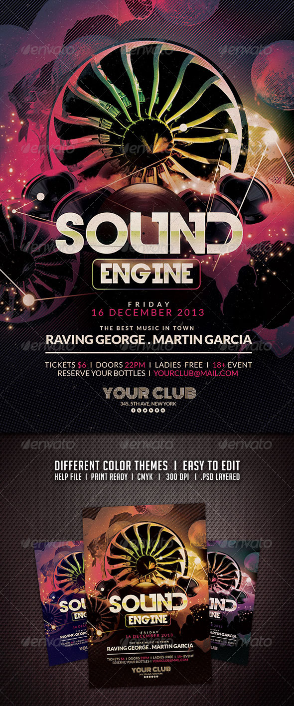 Sound Engine Flyer - Clubs & Parties Events