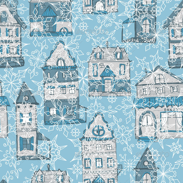GraphicRiver Vector Seamless Pattern with Houses and Snowflakes 5835693