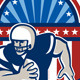 American Football QB Quarterback Crest - GraphicRiver Item for Sale