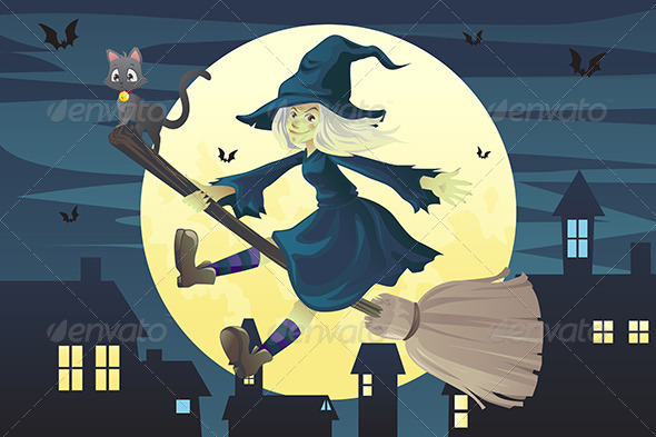 GraphicRiver Halloween Flying Witch 5836102