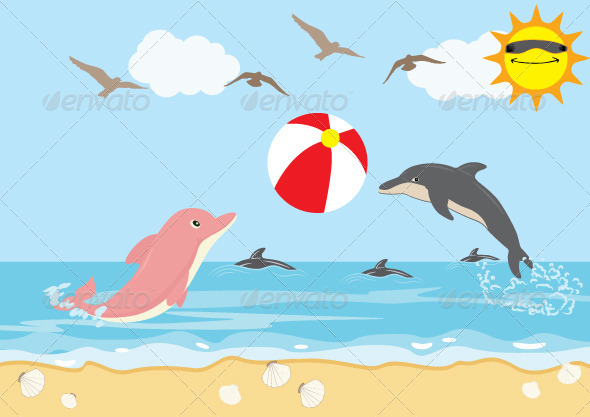 GraphicRiver Summer Holiday with Dolphins Play Ball Beach 5836613