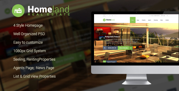 Homeland - Real Estate PSD Template -