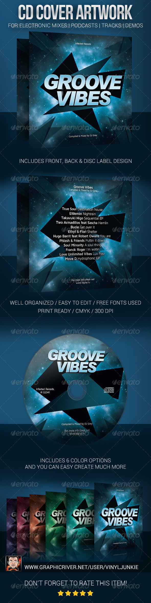 DJ Mix CD Cover Artwork Template - CD & DVD artwork Print Templates