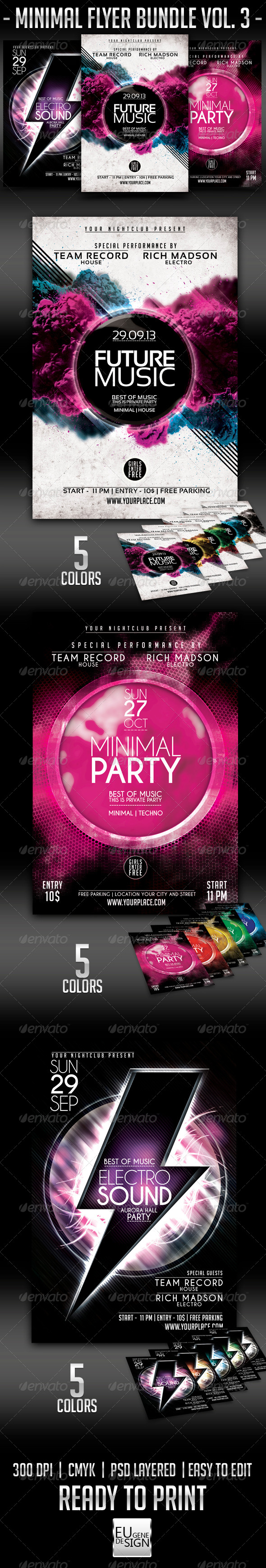 Minimal Flyer Bundle Vol.3 - Clubs & Parties Events