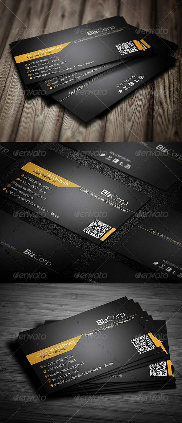 Black Stylish Business Card - Corporate Business Cards