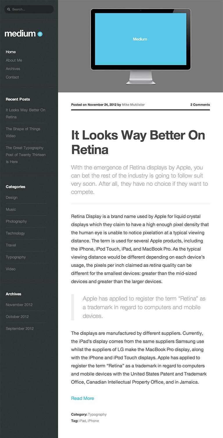 Medium WordPress Theme