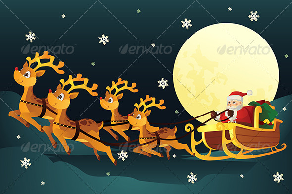 GraphicRiver Santa Riding Sleigh with Reindeers 5841907