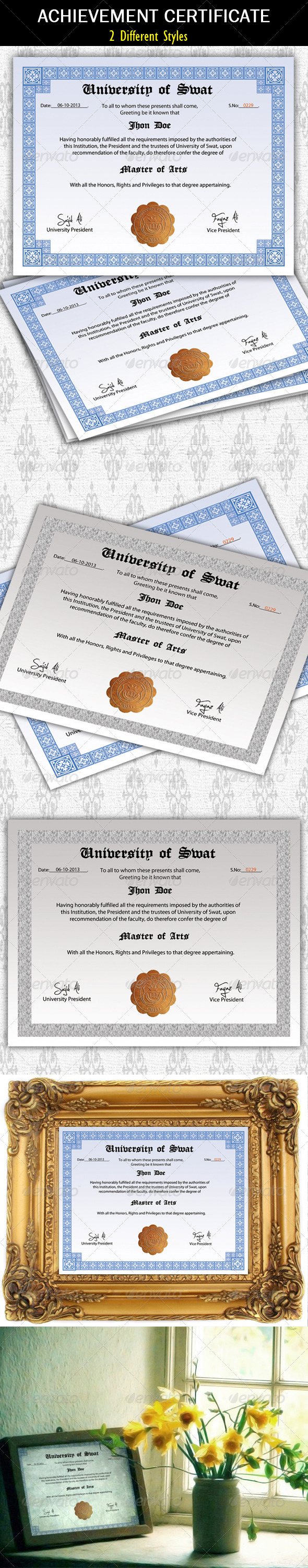 GraphicRiver Achievement Certificate Degree 5802456