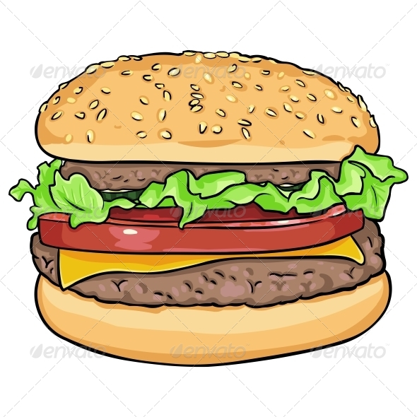 GraphicRiver Vector Cartoon Hamburger 5841927