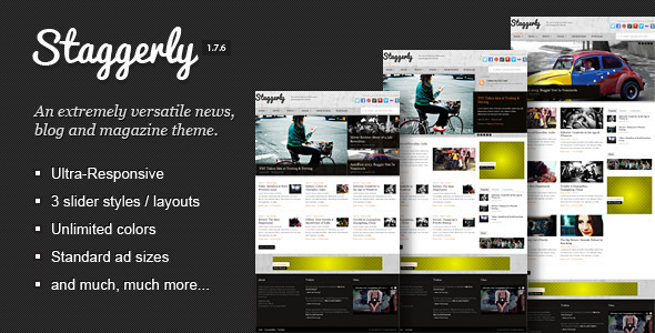 Staggerly is a versatile, unique, and responsive WordPress theme for blogs, news, and magazine style websites. Designed with a modern style to frame your text, photos, videos, music, and other content in a way that keeps readers engaged, and authors empowered.