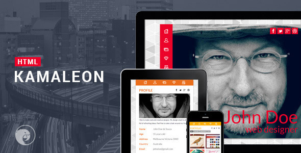 Kamaleon Responsive vCard - HTML - Virtual Business Card Personal
