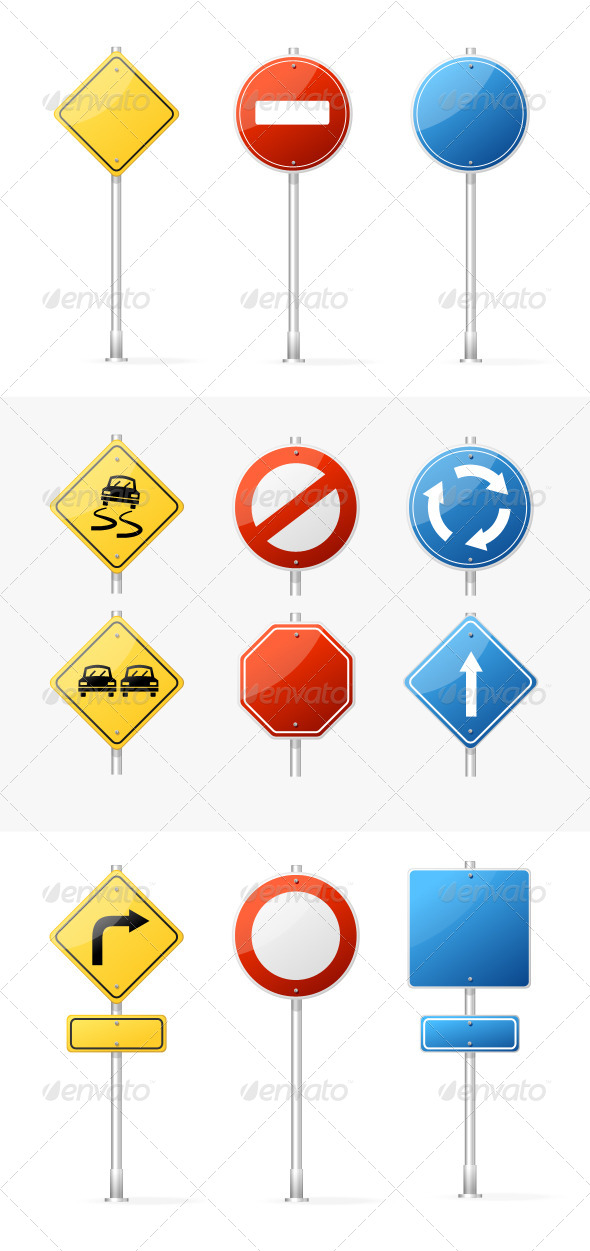 GraphicRiver Vector Blank Traffic Sign set 5842544