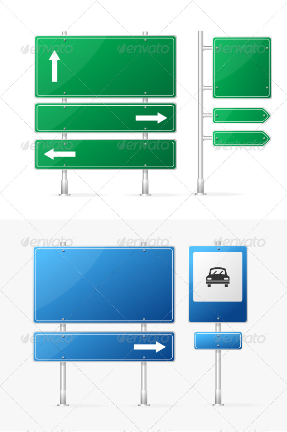 GraphicRiver Vector Blank Green and Blue Road Sign 5842551