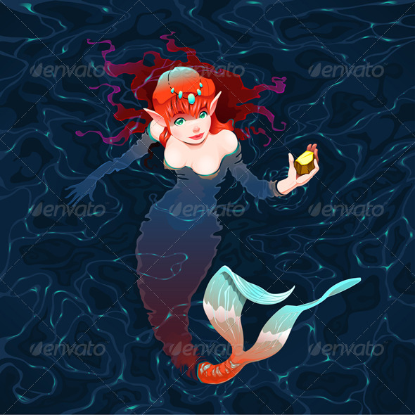 GraphicRiver Mermaid in the Water with a Piece of Gold 5843325