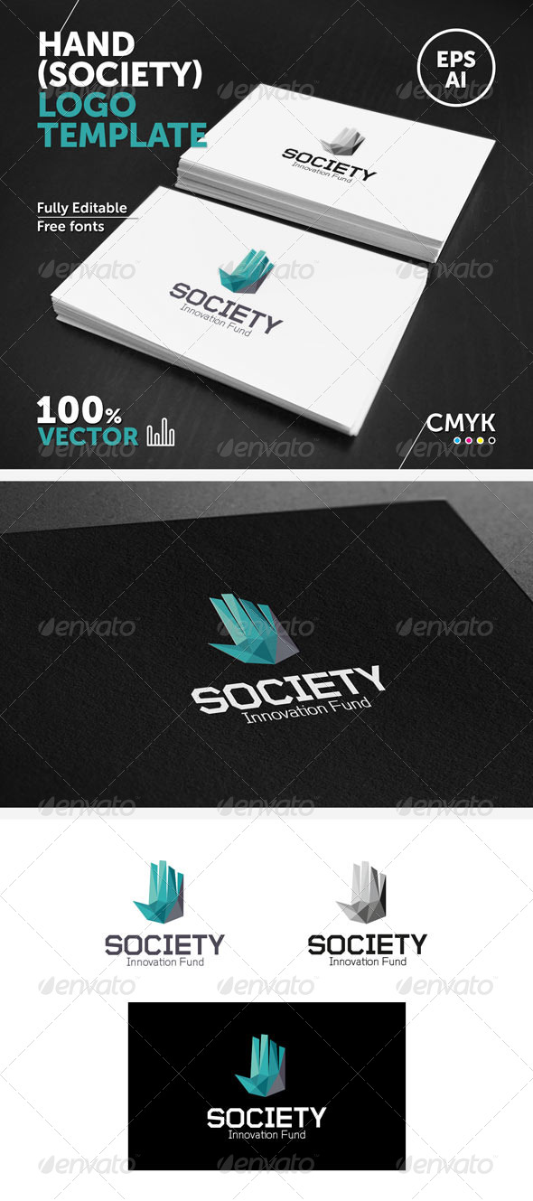 GraphicRiver Hand society Logo Template 5843771