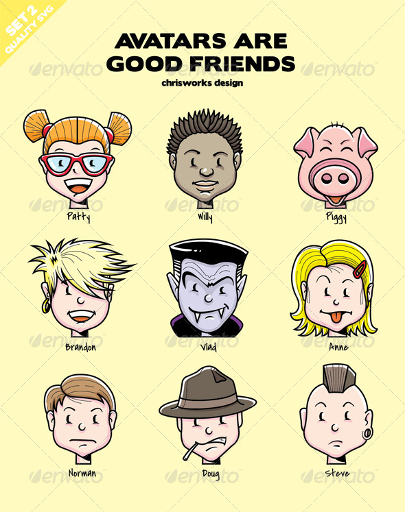 GraphicRiver Avatars Are Good Friends Set 2 5844055