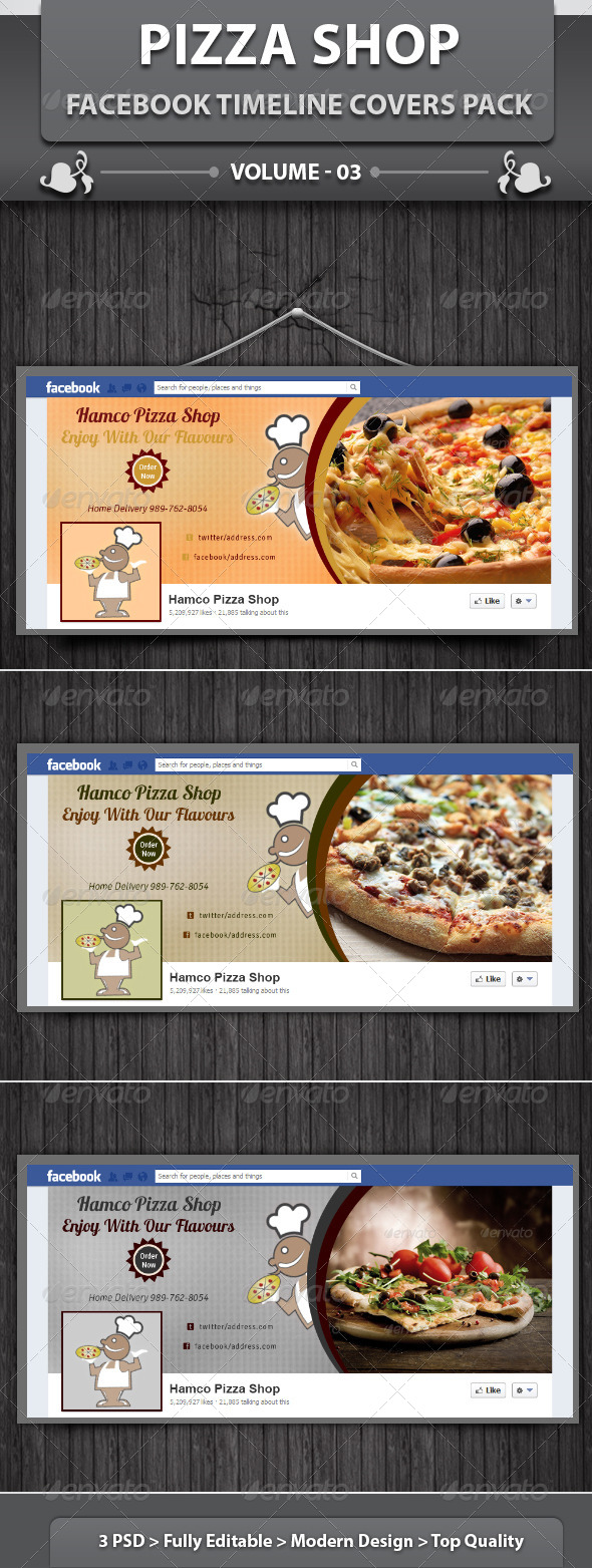 GraphicRiver Pizza Shop Facebook Timeline Covers Pack v3 5846337