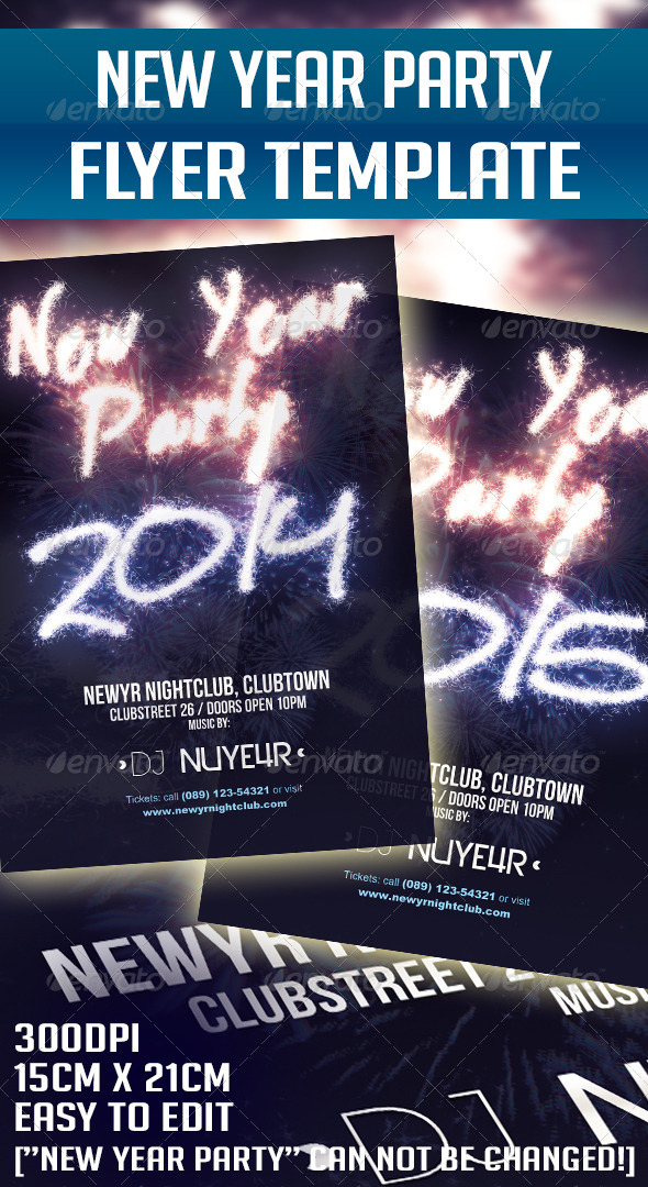 GraphicRiver New Year 2014 & 2015 Party Flyer Template 5711376
