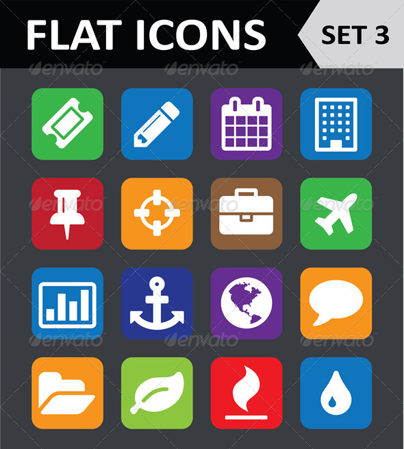 GraphicRiver Universal Colorful Flat Icons Set 3 5848296