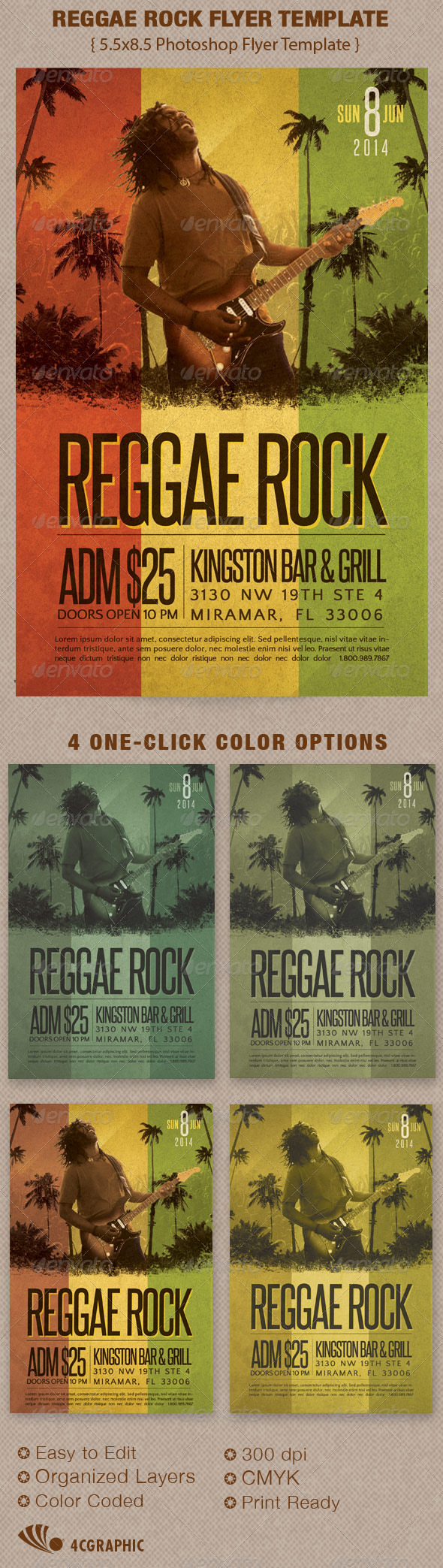 GraphicRiver Reggae Rock Flyer Template 5850397