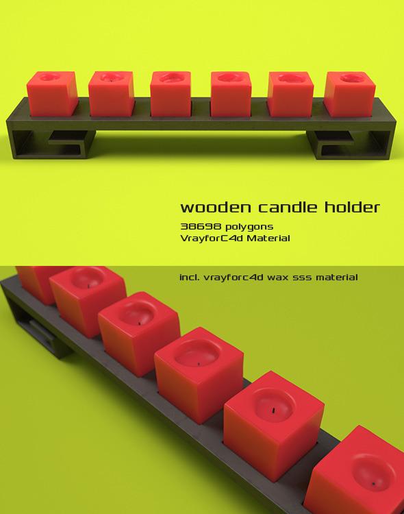 3DOcean Wooden Candleholder 5851140