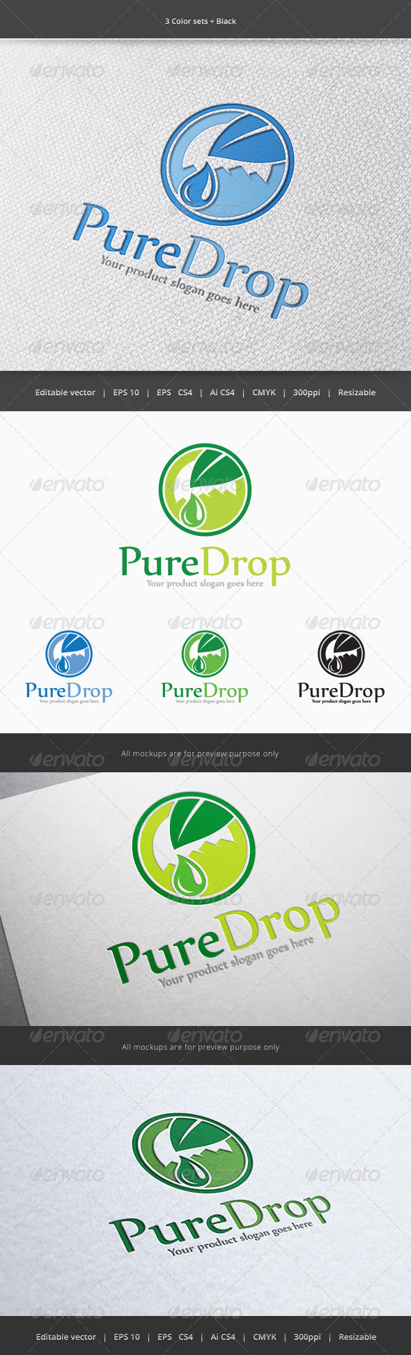 GraphicRiver Pure Water Drop Logo 5852243