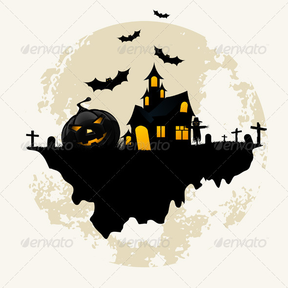 GraphicRiver Grunge Background for Halloween Party 5852876