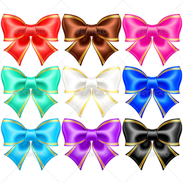 GraphicRiver Silk Bows with Golden Edging 5853258