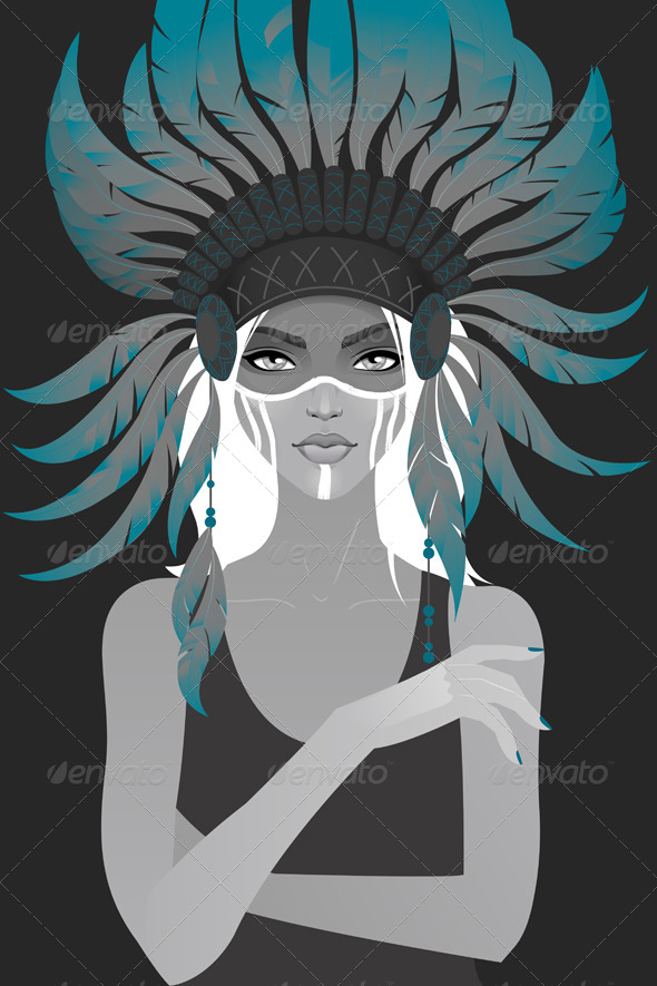 GraphicRiver Girl in a Headdress of Feathers 5853480