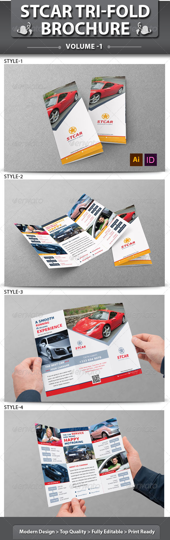 Automobile Business Tri-fold Brochure | Volume 1 - Corporate Brochures