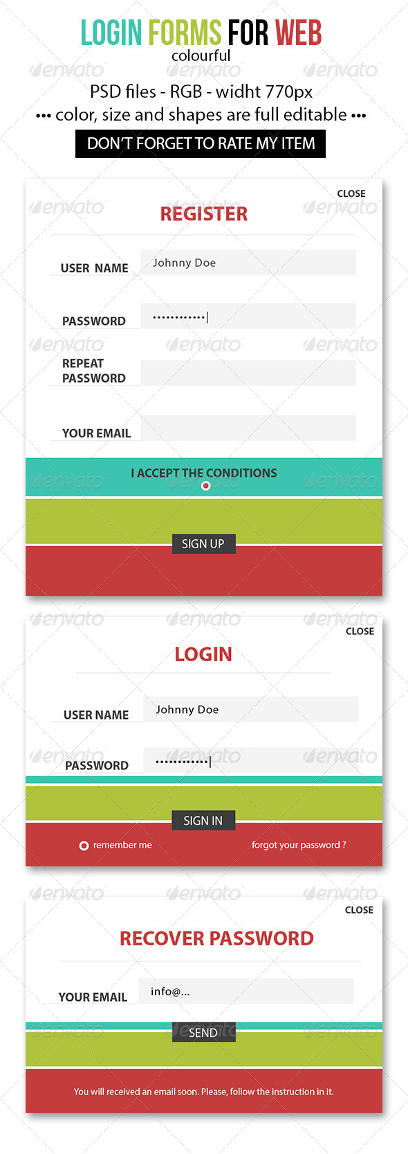 GraphicRiver Colourful login forms 4168923