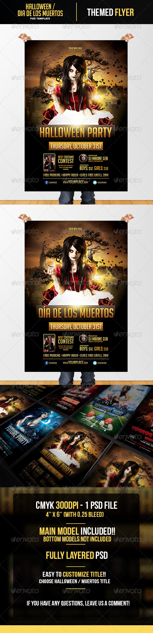 Halloween - Dia de los Muertos  Flyer Template - Flyers Print Templates