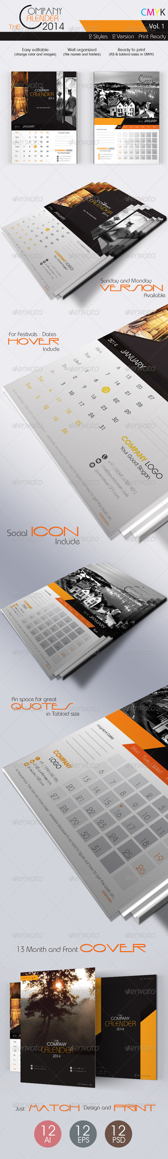 GraphicRiver The Company Calenders 2014 5725264