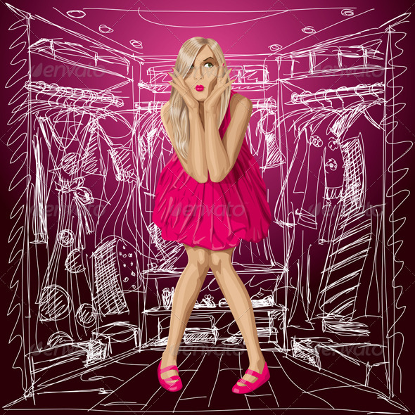 GraphicRiver Vector Surprised Blonde in Pink Dress 5860656