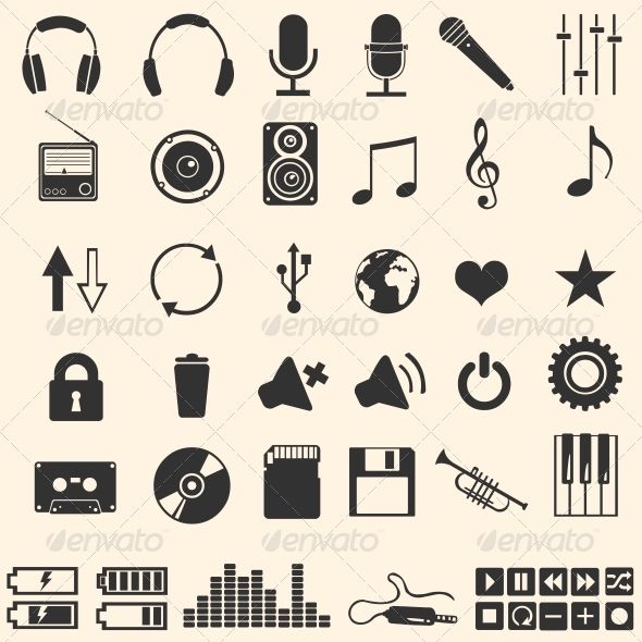 GraphicRiver Vector Set of 46 Music Icons 5861030