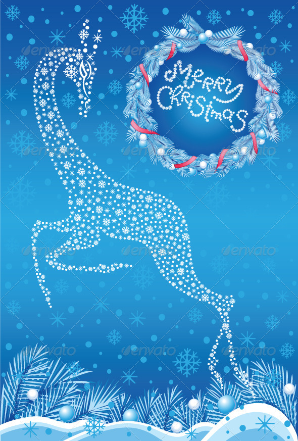 GraphicRiver Christmas Card with Stylized Deer 5861414