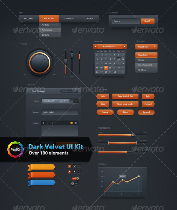 GraphicRiver Dark Velvet UI Kit 5861662