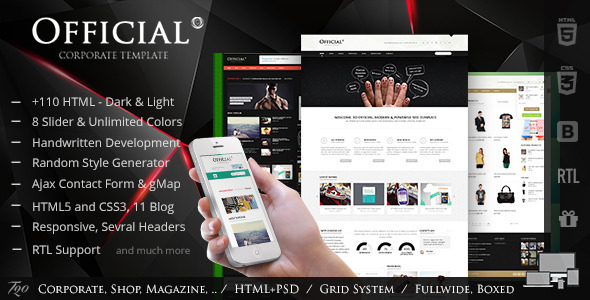 ThemeForest Official Multipurpose HTML5 Website Template 5861777