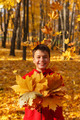 happy smiling boy with autumn leaves - PhotoDune Item for Sale