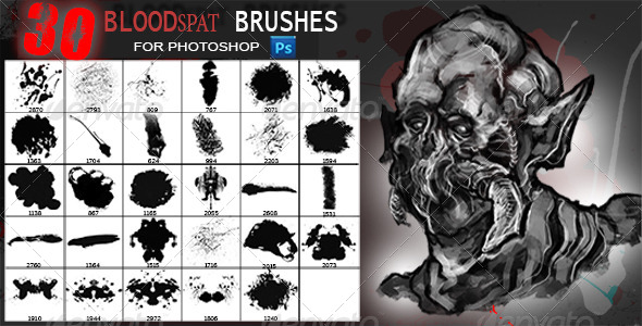 GraphicRiver 30 Blood Brushes 5839027