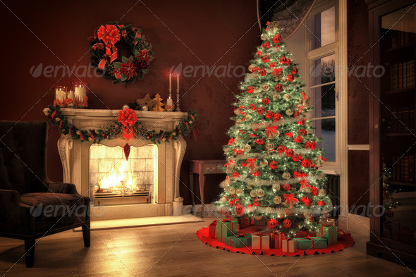 christmas tree in a living room with a fireplace