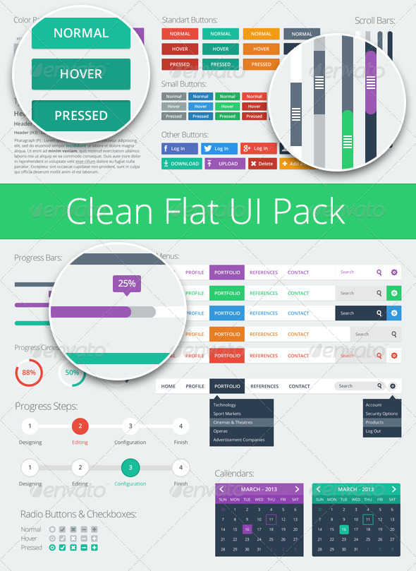 GraphicRiver Clean Flat UI Pack 5829938