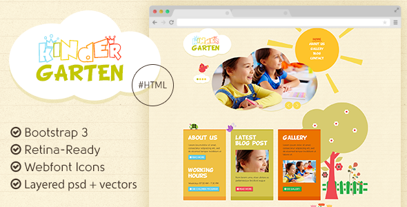 Kindergarten - Bootstrap 3 HTML Template - Children Retail