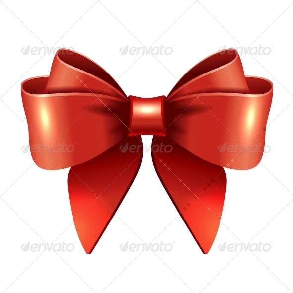 GraphicRiver Red Vector Gift Bow and Ribbon 5867742