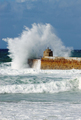 Big white water wave splash, Portreath pier, Cornwall England. - PhotoDune Item for Sale