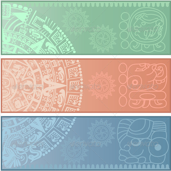 GraphicRiver Banners with Ancient American Ornaments 5869199