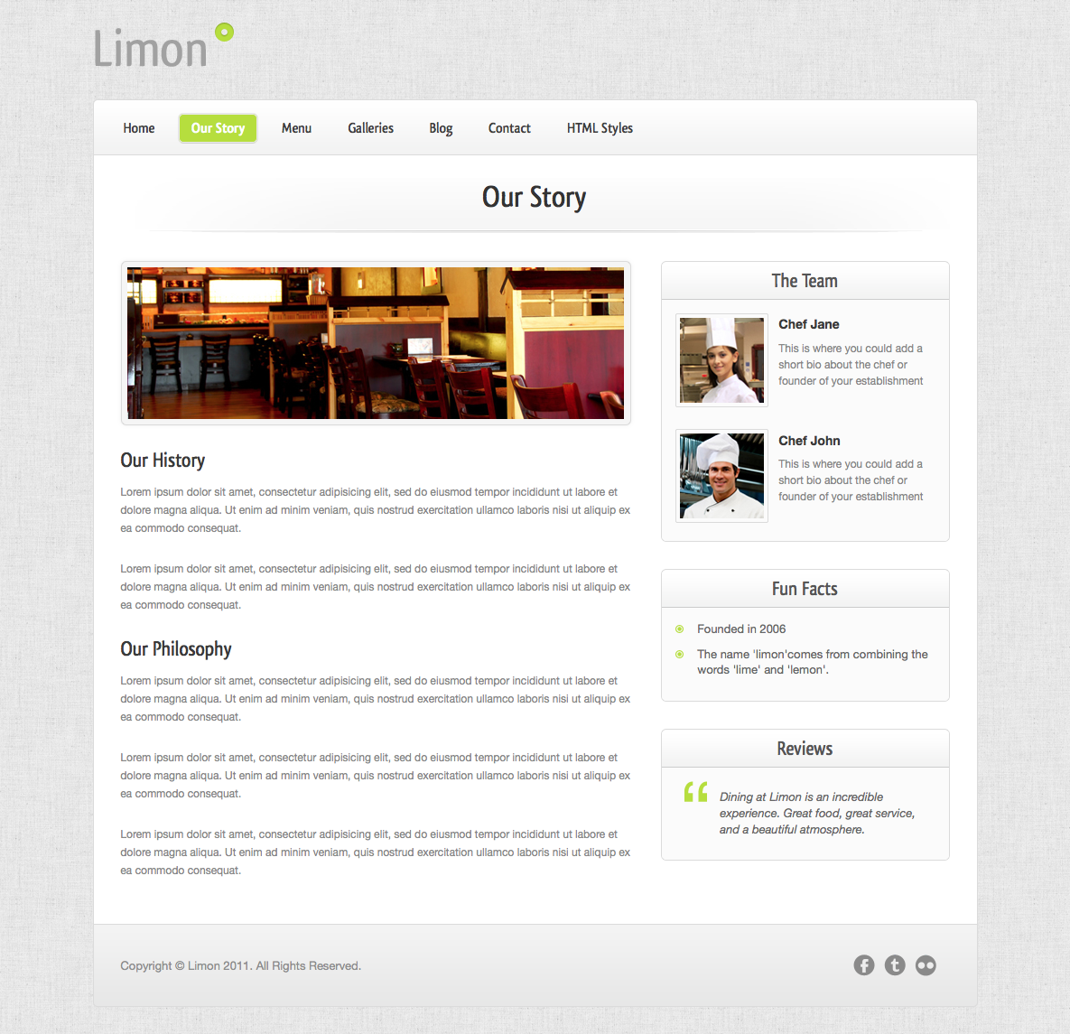 Limon - A Restaurant and Spa Wordpress Theme - Our Story - Reviews slider and nicely formatting content.