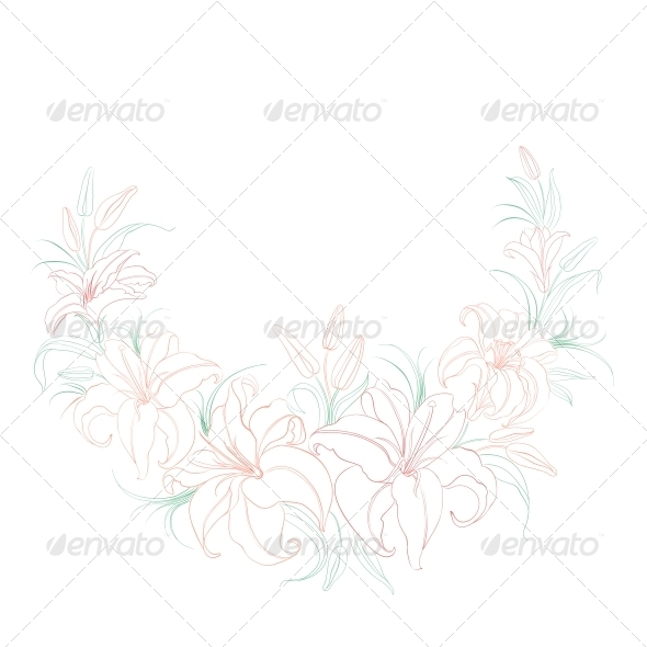 GraphicRiver Floral Background with Blooming Lilies 5870633