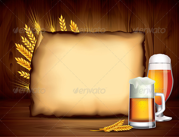 GraphicRiver Beer and Empty Paper on Wooden Background 5870689